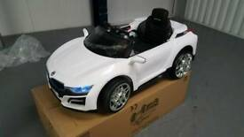 White BMW i8 style ride on 12v kids electric car brand new