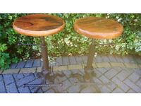 A MATCHING PAIR OF SOLID CAST IRON AND STEEL BARSTOOLS IDEAL FOR KITCHEN BREAKFAST BAR OR PUB BAR