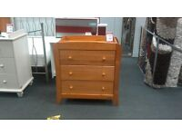 Chest of 3 drawers / dresser changer Mamas and Papas pine effect - British Heart Foundation