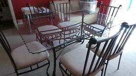 High Quality Glass Dining Room Table and Six Chairs