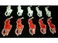 Polo badges 3cm 20 pc iron on badges red white 10 pounds