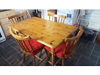 Solid antique pine table & 4 chairs £80ono