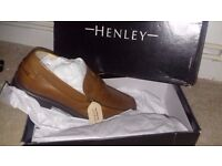 Mens Henley Comfort Tan Leather Cushioned Loafers Tan Size 12
