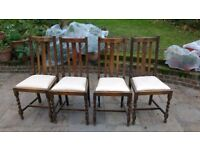 Set of 4 English antique solid oak dining chairs, circa 1930