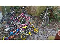 Bundle of 8 - bikes. Spare or repair £50 for all