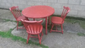 Upcycled BRICK RED table & 3 Chair set