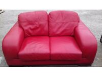 Red leather 3 seat and 2 seat sofas excellent condition