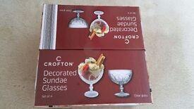 Crofton Decorated Sundae Icecream glasses - Unwanted gift - Brand new