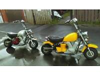 Pair of fat moto kiddy choppers 50cc none runners need battery's or pullcords#