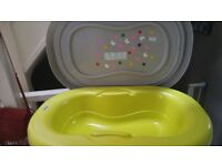 Brevi baby bath with stand and changing top