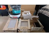 Joblot of tiles, adhesive and grout