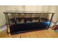 Heavy Black and Chrome TV Unit Stand Bench