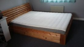 Light wood double bed with storage and Ikea mattress