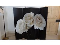 'Arthouse' 4 panel room divider - 'Black & White Roses' design. Brand new UNUSED.