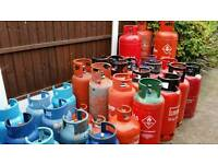 VARIOUS CALOR GAS BOTTLES PROPANE BUTANE LPG CARAVAN CAMPING BUTTY VAN BARBECUE LOG BURNER