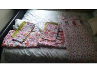 2 x Russian Doll Single bed sets & tab top curtains