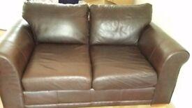 Brown leather sofa x 2