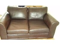Brown leather sofa x 2