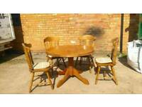 Beautiful vintage dining tables and 4 chairs