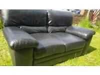 High quality black leather sofa suite