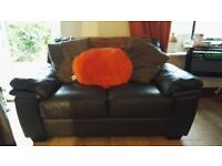 Dark Brown Two Seater Leather Sofa