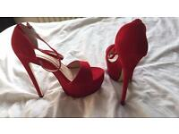 Bright red suede heels size 6 NEW