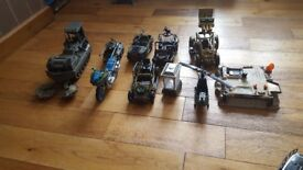 Toy army truck jeeps and bike etc with moving parts and army figures all 4 £20