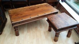 Lovely square solid wood coffee table with metal bracket detail,good condition.(rectangle one sold)