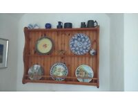 Antique effect pine wall display unit