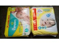 NEWBORN x 142 nappies Pampers and Little Angels