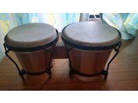 Two mini bongo drums