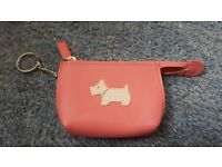 New & Unused Radley Rose Pink Leather Zipped Coin Purse with Key Chain