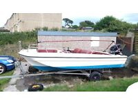 ***REDUCED*** BOAT 17' DORY WITH 50HP OUTBOARD AND GOOD TRAILER IDEAL FOR FISHING