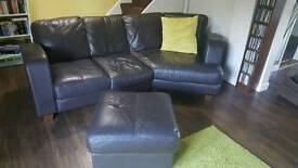 4 seater leather sofa & footstool