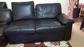 COMPLETE LEATHER SOFA SET WITH BED