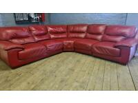 HARVEYS RED LEATHER CORNER SOFA IN NICE CONDITION