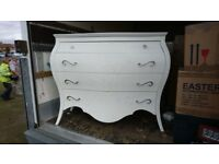 Large white / cream chest of drawers Made in Italy Bombe Commode