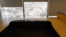 Light wood office desks L-shaped