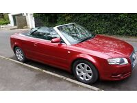 Audi A4 Cabriolet TDI 140. 2007, red, 2.0 diesel. Good condition, includes satnav and hands-free