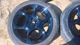 "GENUINE Alfa Romeo 17"" 5 x 98 black alloy wheels"