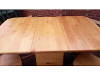 Folding solid wood dining table with 4 chairs
