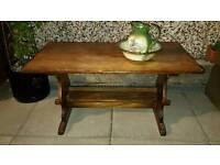 Vintage large solid oak trestle coffee table