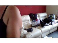 3 seater cream leather reclining sofa