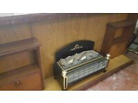 Two-bar Large Real Wood Electric Fireplace (PRILECT) with Side Storage in Good Condition