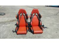 Bucket seats racing seats with belts pair