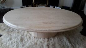 Unique Travertine Sofa Table and Coffee Table