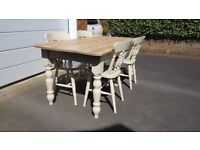 6FT FARMHOUSE TABLE & CHAIRS KITCHEN DINING TABLE RUSTIC SHABBY SHIC