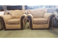 Dark Wood and Tan Fabric Armchairs in Great Condition
