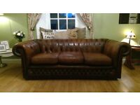 Chesterfield 3-Seater Sofa and Club Chair in Antique Brown