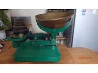 Vintage cast iron and brass weighing scales with weights